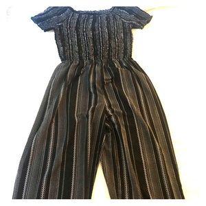 Pants - Black and white off shoulder midi jumpsuit